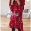 เดรสเกาหลี พร้อมส่ง เดรสผ้าเครปสีแดง ลายดอกไม้ thumbnail 8
