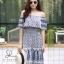 ชุดเดรสเกาหลี พร้อมส่ง Dress ปร้ินลายเชิง แต่งระบายรอบตัว thumbnail 15
