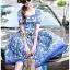 เดรสเกาหลี พร้อมส่ง ชุดเดรส ผ้าเครปพิมพ์ลายสีฟ้า-ขาว thumbnail 4