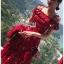 เดรสเกาหลี พร้อมส่ง เดรสผ้าเครปสีแดง ลายดอกไม้ thumbnail 12