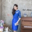 เดรสเกาหลี พร้อมส่ง Dress ลูกไม้ แขนชีฟอง thumbnail 2