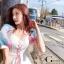 เดรสเกาหลี พร้อมส่ง เดรสทรงแขนพองๆเล่นสีสวย thumbnail 6