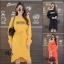 ชุดเดรสเกาหลี พร้อมส่ง Long Dress เดรสแขนยาวเปิดไหล่ thumbnail 1
