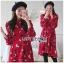เดรสเกาหลี พร้อมส่ง เดรสผ้าเครปสีแดง ลายดอกไม้ thumbnail 1