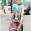 เดรสเกาหลี พร้อมส่ง มินิเดรส ผ้าโบรเคดพิมพ์ลายสีสดใส thumbnail 3