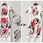 เดรสเกาหลี พร้อมส่ง เดรสแขนสั้น ดอกไม้สีแดง thumbnail 11