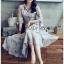 ชุดเดรสเกาหลี พร้อมส่ง เชิ้ตเดรส ผ้าชีฟองพิมพ์ลายดอกไม้ thumbnail 7