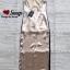 ชุดเดรสเกาหลี พร้อมส่ง Maxi Dress สายเดียว ผ้าสีพื้นมันเงา thumbnail 14