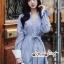 เดรสเกาหลี พร้อมส่ง เดรสเชิ้ต สีฟ้าลายริ้วสลับขาวลายทาง thumbnail 7