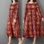 ชุดเดรสเกาหลี พร้อมส่ง Dress คอกลม ลายดอกไม้ thumbnail 3