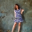 พร้อมส่ง Mini dress ลายริ้ว แขนกุด คอทรงสูท thumbnail 4
