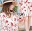 เดรสเกาหลี พร้อมส่ง เดรสสั้น สีขาวอมครีม ลายดอกไม้ thumbnail 5