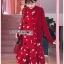 เดรสเกาหลี พร้อมส่ง เดรสผ้าเครปสีแดง ลายดอกไม้ thumbnail 10