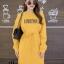 ชุดเดรสเกาหลี พร้อมส่ง Long Dress เดรสแขนยาวเปิดไหล่ thumbnail 10