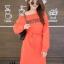 ชุดเดรสเกาหลี พร้อมส่ง Long Dress เดรสแขนยาวเปิดไหล่ thumbnail 15