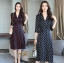 ชุดเดรสเกาหลี พร้อมส่ง Dress คอวี แขน 5ส่วน ลายจุด thumbnail 1