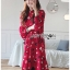 เดรสเกาหลี พร้อมส่ง เดรสผ้าเครปสีแดง ลายดอกไม้ thumbnail 4