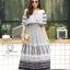 ชุดเดรสเกาหลี พร้อมส่ง Dress ปร้ินลายเชิง แต่งระบายรอบตัว thumbnail 2