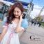 เดรสเกาหลี พร้อมส่ง เดรสทรงแขนพองๆเล่นสีสวย thumbnail 4