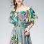 พร้อมส่ง long dress ผ้าชีฟองหลากสีโทนสีเขียวขี้ม้า thumbnail 4