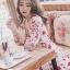 เดรสเกาหลี พร้อมส่ง มินิเดรส คอวี ปริ้นลายดอก thumbnail 5