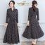 ชุดเดรสเกาหลี พร้อมส่ง Dress คอวี แขน 5ส่วน ลายจุด thumbnail 7