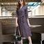 ชุดเดรสเกาหลี พร้อมส่ง Dress คอวี แขน 5ส่วน thumbnail 5