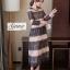 ชุดเดรสเกาหลี Maxi dress พิมพ์ลายดอก ทรงอกป้ายไขว์ thumbnail 4