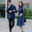 ชุดเดรสเกาหลี พร้อมส่ง เดรสผ้า cotton กับ เสื้อเชิ้ต ชาย thumbnail 3