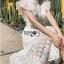 เดรสเกาหลี พร้อมส่ง เดรสผ้าลูกไม้ สีขาวทรงคอสูง thumbnail 12