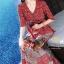เดรสเกาหลี พร้อมส่ง เดรสผ้าซาติน ซิลพิมพ์ลาย thumbnail 9