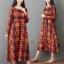 ชุดเดรสเกาหลี พร้อมส่ง Dress คอกลม ลายดอกไม้ thumbnail 2