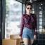 เสื้อเกาหลี พร้อมส่ง เสื้อเชิ้ต ซีฟองพิมพ์ลายจุป้าจุ๊ป thumbnail 9