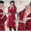 เดรสเกาหลี พร้อมส่ง เดรสผ้าเครปสีแดง ลายดอกไม้ thumbnail 2