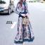 ชุดเดรสเกาหลี พร้อมส่ง เดรสยาว ผ้าsilk เนื้อผ้าปริ้นท์ลาย thumbnail 3
