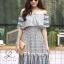 ชุดเดรสเกาหลี พร้อมส่ง Dress ปร้ินลายเชิง แต่งระบายรอบตัว thumbnail 5