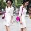 เดรสเกาหลี พร้อมส่ง Dress คอกลม แขน5ส่วน thumbnail 7