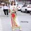 ชุดเดรสเกาหลี พร้อมส่ง เดรสยาว เนื้อผ้าไหมsilk สีลายคมชัด thumbnail 2