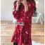 เดรสเกาหลี พร้อมส่ง เดรสผ้าเครปสีแดง ลายดอกไม้ thumbnail 6