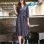 ชุดเดรสเกาหลี พร้อมส่ง Dress คอวี แขน 5ส่วน thumbnail 6