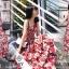 เดรสเกาหลี พร้อมส่ง ชุดเดรส ผ้าสปาเคิลพิมพ์ลายดอกไม้ thumbnail 4