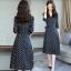 ชุดเดรสเกาหลี พร้อมส่ง Dress คอวี แขน 5ส่วน ลายจุด thumbnail 8