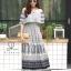 ชุดเดรสเกาหลี พร้อมส่ง Dress ปร้ินลายเชิง แต่งระบายรอบตัว thumbnail 3