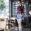 เสื้อเกาหลี พร้อมส่ง เสื้อเชิ้ต ซีฟองพิมพ์ลายจุป้าจุ๊ป thumbnail 6