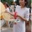 เดรสเกาหลี พร้อมส่ง ชุดเดรส ปักลายสีขาวทรงคอสูง thumbnail 2