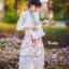 ชุดเดรสเกาหลี พร้อมส่ง เดรสแขนล้ำ คอปก ลายดอกไม้ thumbnail 8