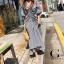 Maxi dress เดรสเกาหลี พร้อมส่ง เดรส ลายสก๊อตย่นหน้า thumbnail 6