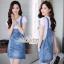 เสื้อผ้าเกาหลี พร้อมส่ง เอี๊ยมยีนส์ สีฟอกแต่งกระดุม thumbnail 3