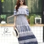 ชุดเดรสเกาหลี พร้อมส่ง Dress ปร้ินลายเชิง แต่งระบายรอบตัว thumbnail 12
