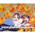 กระดาษสาพิมพ์ลาย สำหรับทำงาน เดคูพาจ Decoupage แนวภาำพ เจ้าแมวน้อยจอมซน ปีนขึ้นไปเล่นบนต้นเมเปิ้ล A5